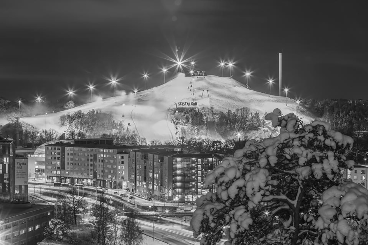 Skistar Hammarbybacken svart vit