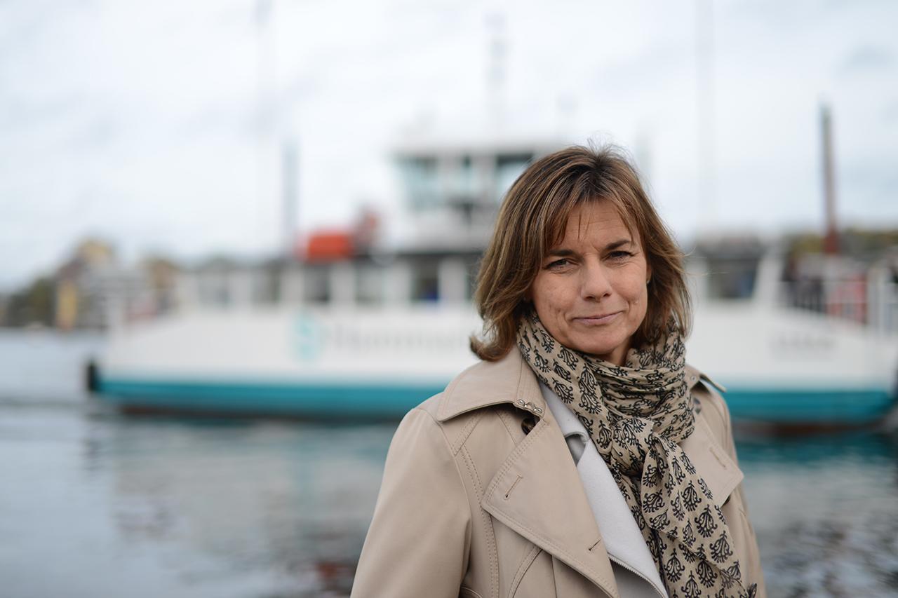 Vice Stadsministern Isabella Lövin (MP) i Hammarby Sjöstad