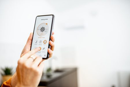 Controlling ventilation with a smart phone at home