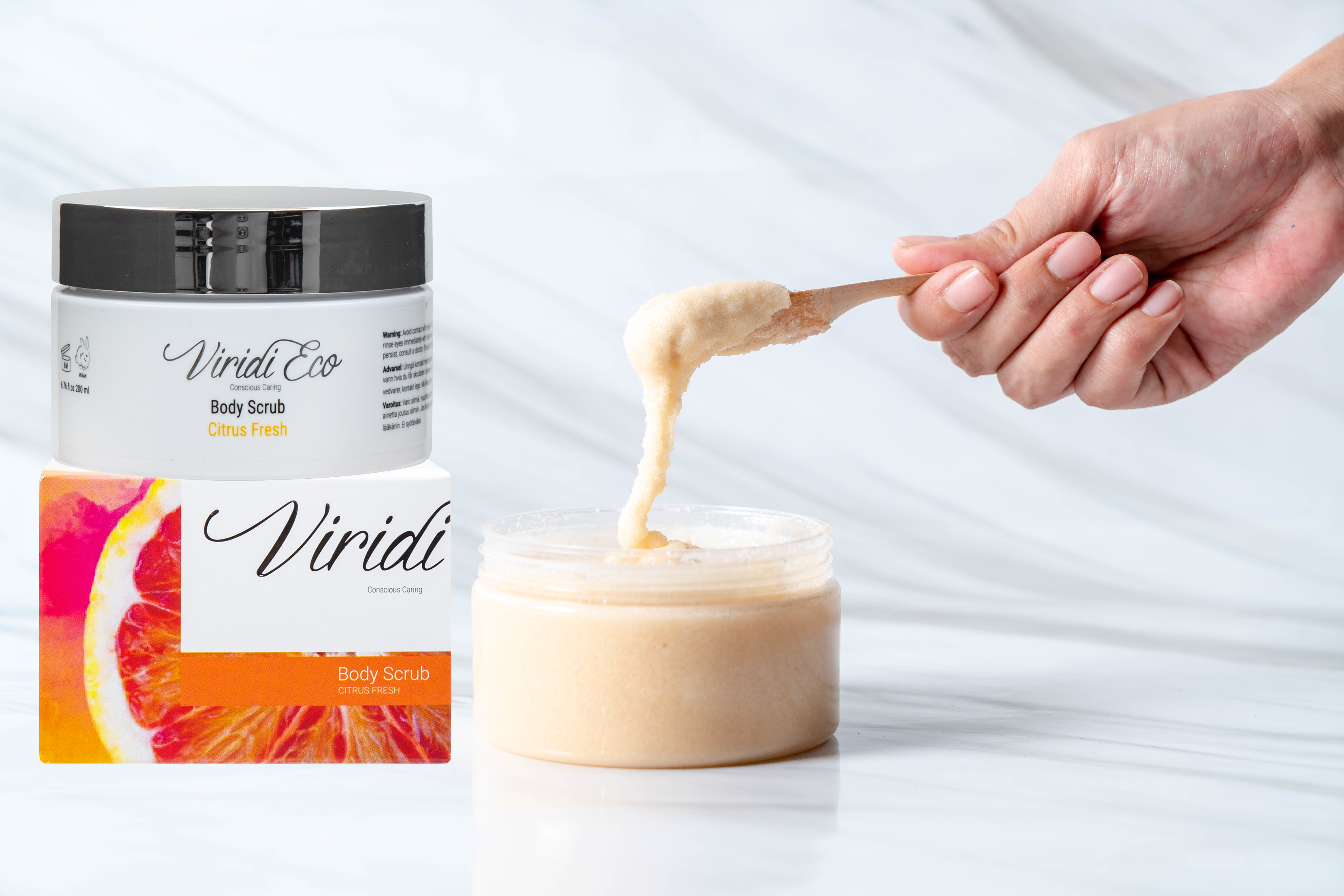 scrub jar with ingredients