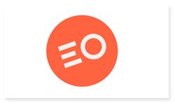 Logoen til Elevorganisasjonen. Logoen er en oransje runding med bokstavene E og O i hvitt.
