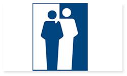 Logoen til Foreningen for Norges døvblinde. Det er bilde av et blått og et hvitt menneske som går inn i hverandre. Bakgrunnen på det blå mennesket er hvitt og bakgrunnen til det hvite mennesket er blått.
