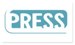 Logoen til PRESS. PRESS er redd barna sin ungdomsorganisasjon. Bokstavene til PRESS står i hvitt. Det er markert med turkis farge over bokstavene.