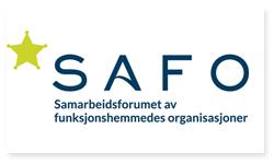 Logoen til Samarbeidsforumet av funksjonshemmedes organisasjoner. I logoen er det bilde av teksten SAFO. Under bokstavene SAFO står Samarbeidsforumet av funksjonshemmedes organisasjoner. Til venstre for SAFO er det bilde av en gul stjerne.