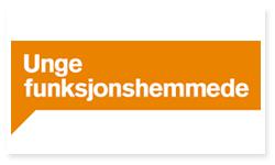 Logoen til Unge funksjonshemmede. Det er en oransje rektangulær boks som ligner en snakkeboble rundt den hvite teksten: Unge funksjonshemmede.