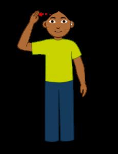 Illustrasjon En elev med mørkt kort hår. Han sier «hei» på tegnspråk. Han har et høreapparat i øret.