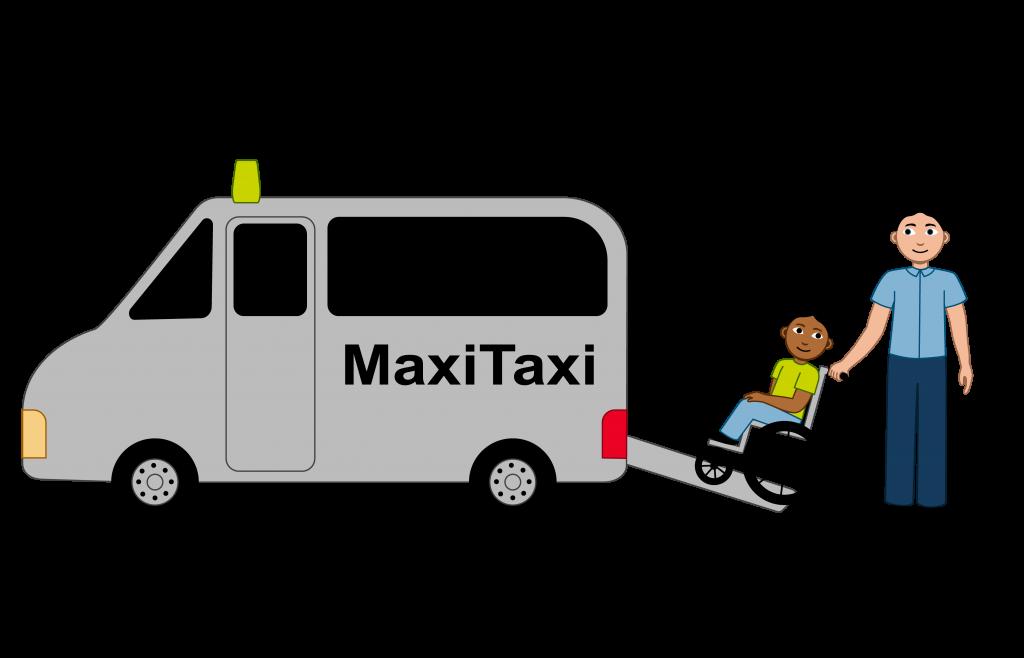 Illustrasjon Det er en MaxiTaxi, en elev og en taxisjåfør i bildet. Eleven sitter i rullestol på rampen som går inn mot taxien. Taxisjåføren holder fast i rullestolen til eleven slik at den ikke tipper bakover.