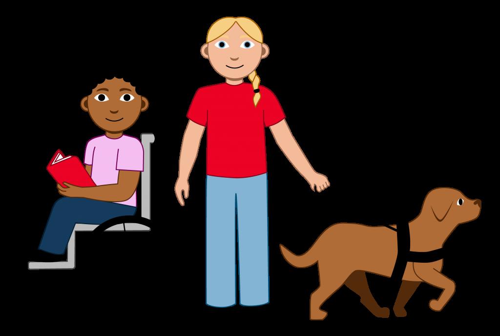 Illustrasjon Det er to elever og en førerhund i bildet. Den ene eleven har kort mørkt hår og sitter i rullestol. Den andre eleven har lyst langt hår og holder i selen til førerhunden.