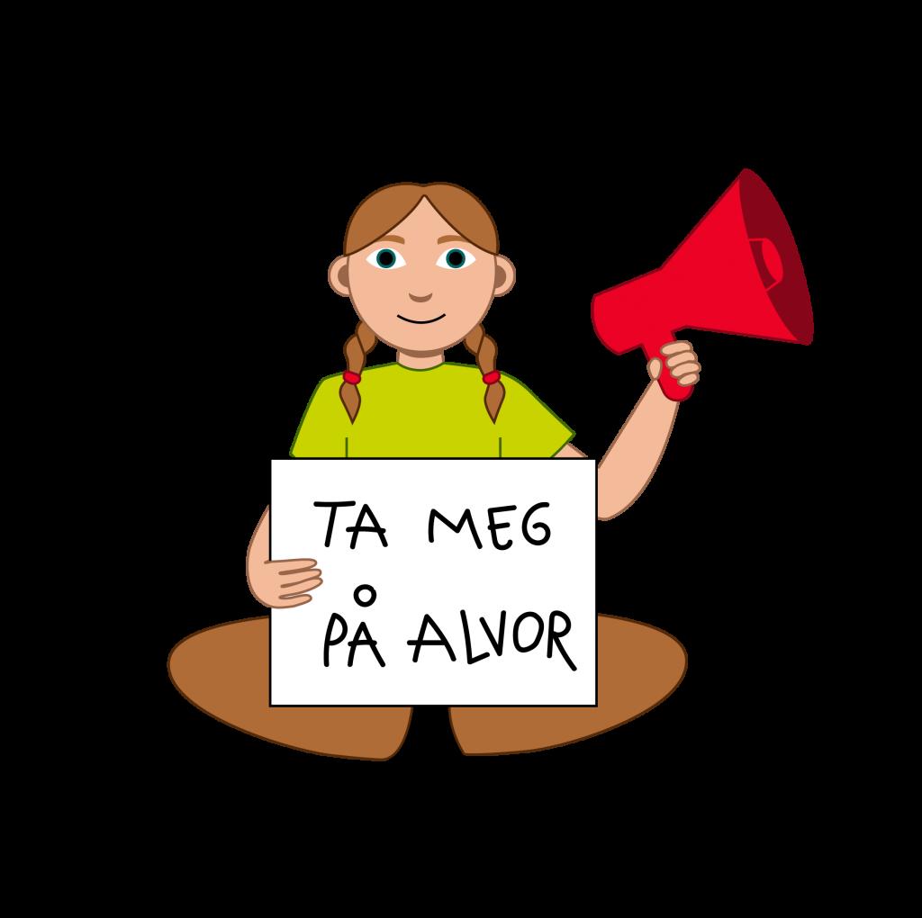 Illustrasjon En elev med brune lange fletter. Hen holder i en megafon med den ene hånden og holder en plakat med den andre hånden. På plakaten står det: Ta meg på alvor.