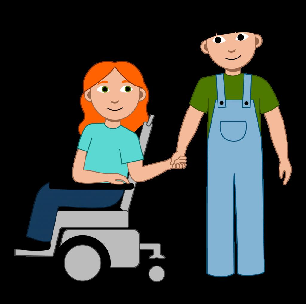 Illustrasjon Det er to elever i bildet. Den ene eleven har rødt langt og bølgete hår. Hun sitter i elektrisk rullestol. Den andre eleven har mørkt hår. De ser begge på hverandre og smiler.