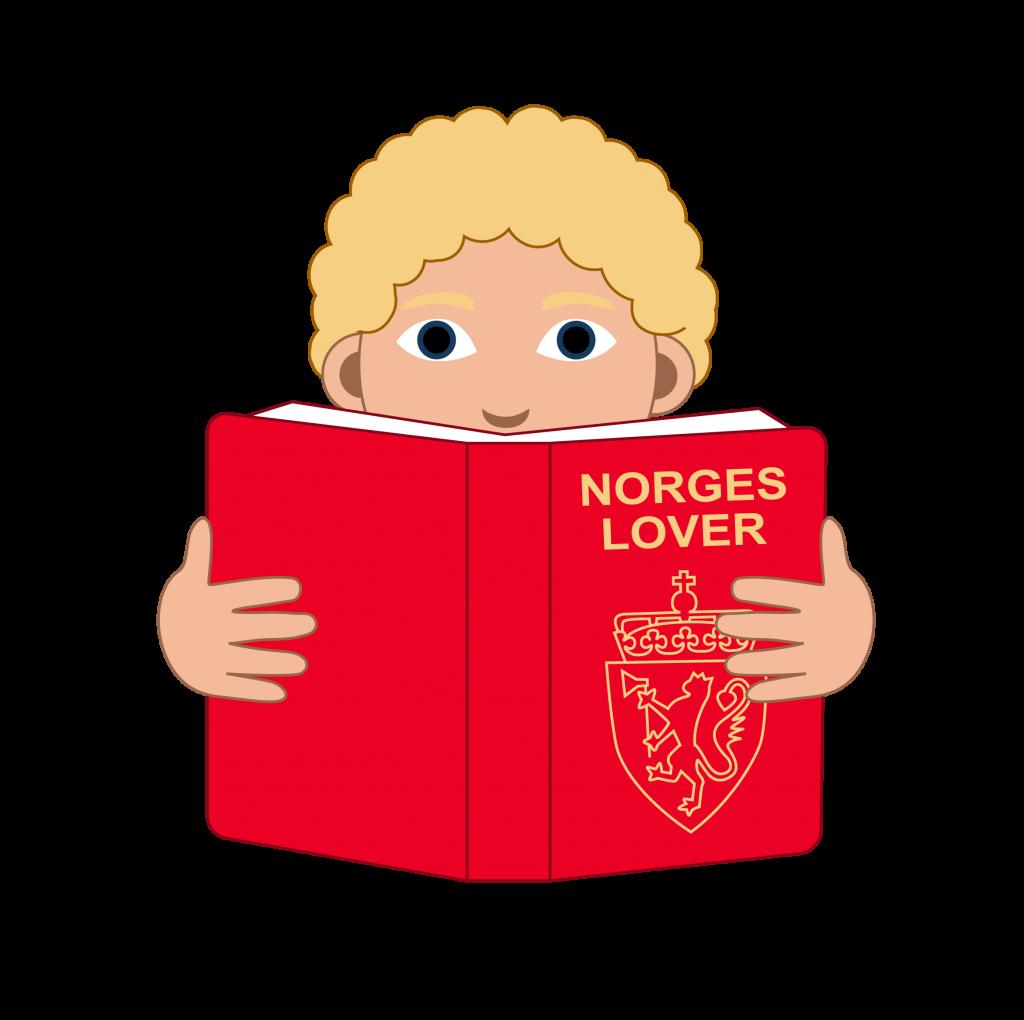 Illustrasjon En elev med lyst og kort hår. Eleven kikker ned i en bok med Norges lover.