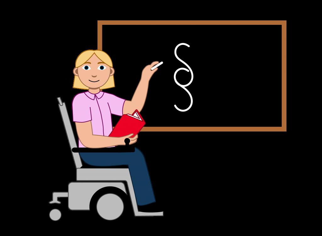 Illustrasjon En lærer med lyst langt hår. Læreren sitter i elektrisk rullestol. Hen har en bok i hånden og tegner en paragraf på tavlen med den andre hånden.