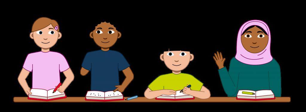 Det er fire elever i bildet. De sitter alle foran en felles pult. Og alle leser i bøker. Den første personen har kort hår. I håret sitt har hen en rosa spenne. Den andre personen har mørkt hår og en amputert hånd. Den tredje personen har mørkt hår og musefletter. Hun er lavere enn de andre. Den fjerde personen har på seg en hijab. Hun rekker fem fingre opp i været. På bildet står det med stor skrift: Velkommen til Skolen er for alle! Nedenfor overskriften står det: Er du elev på ungdomsskolen eller videregående skole og har en funksjonsnedsettelse? Da kan du lære mer om rettighetene dine på skolen her. Her finner du også historier fra andre unge som har vært i lignende situasjon som deg.