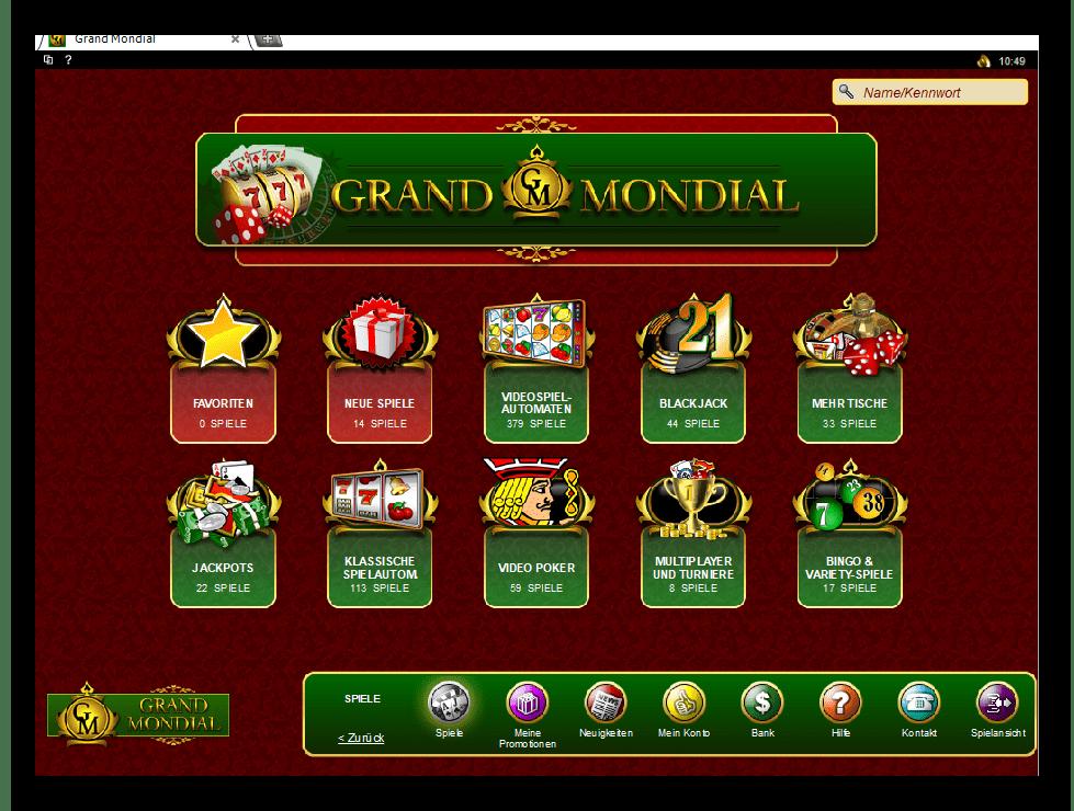 Grand Mondial Casino Game Lobby Screenshot