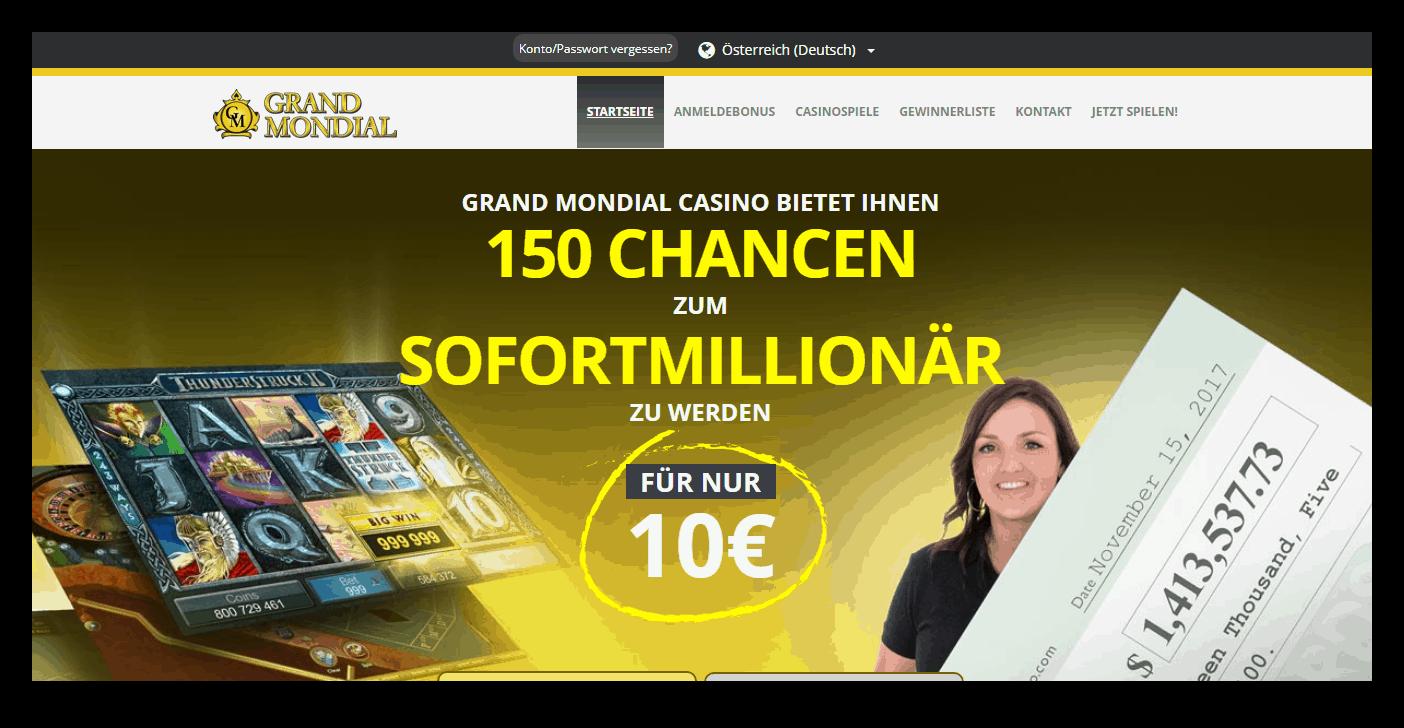 Grand Mondial Casino Homepage Screenshot