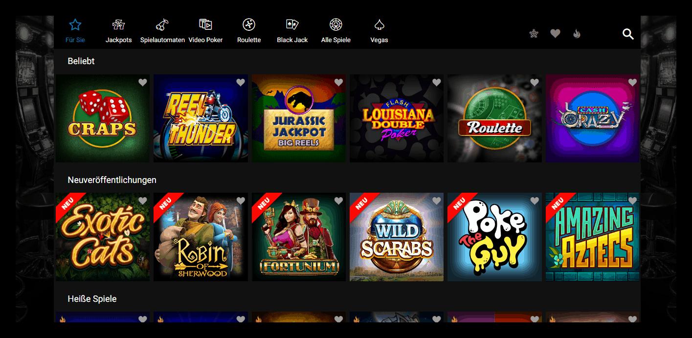 Jackpot City Casino Game Lobby Screenshot
