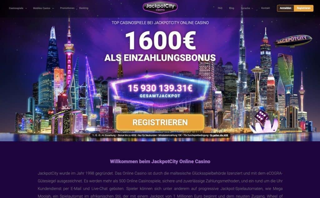 Jackpot City Casino Homepage Screenshot