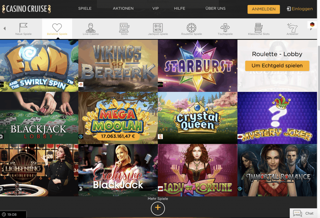 Casino Cruise Game Lobby Screenshot