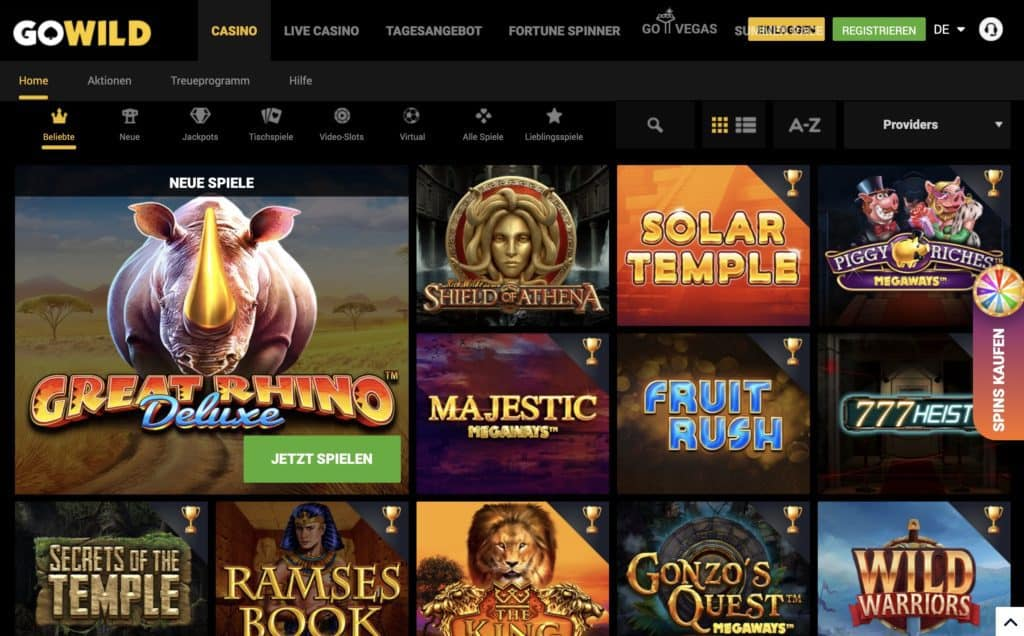 GoWild Casino Game Lobby Screenshot