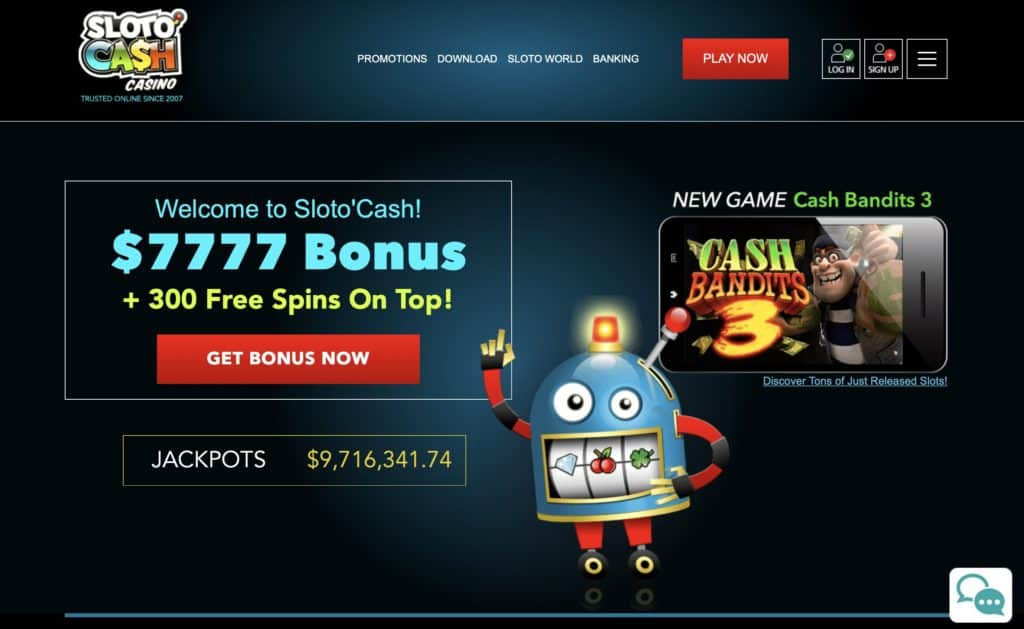 Sloto Cash Casino Homepage Screenshot