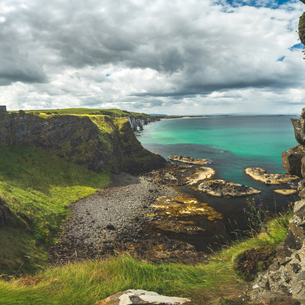 The overview from Dunluce castle to the Irish bay, Taxi Tours Antrim