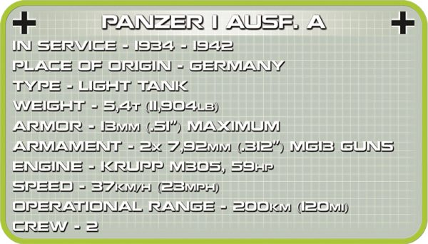 COBI 2534, Panzerkamfagen I Ausf A (1939)