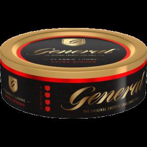 """Om produkten General Extra Stark Lössnus General Extra Stark Lös är en starkare variant än originalet. Med sin fylliga och kryddiga tobakssmak, där du även hittar inslag av citrusaktiga kryddan bergamottoch te, torkat gräs och läder. Kombinationen av kryddighet och syrlighet gör snuset välbalanserat. Ett lössnus som är lättbakat och smidigt formar en sittande prilla. Med extra mycket nikotin! General är ett av världens största snusvarumärken och säljs i enorma mängder i Sverige och runt om i Europa. Ett populärt varumärke sedan 1800-talets slut och än idag. Namnet General har inget att göra med den militära rangen. General kommer från orden """"generell"""" eller """"allmän"""" och hänvisar till ett """"General-snus"""" - ett allmänt snus. Fakta om produkten Varumärke General Produkttyp Lössnus Styrka Stark Nikotinhalt 12 mg/g Innehåll/förpackning 42 g Format Lös Kornighet Medel Producent Swedish Match, Om produkten General Mackmyra Lössnus General Mackmyra Lössnus är ett lössnus från Swedish Match:s Master BlendersLars Jonsson och Mattias Schyberg. Denna gång har de i samarbete medAngela D'Orazio från Mackmyra Whisky tagit fram ett nyutvecklat lössnus som kombinerar de bådasmaktraditionerna hos General och Mackmyra Svensk Ek. Lössnuset har en smak som ligger nära tobaken och som har inspiration frånsåväl Generals som Mackmyras palett. Lågmäldatoner av frukt i kombination med ek och ceder ger en traditionsgrundad smak som överraskar i sin komplexitet. Snuset finns även i Original Portion. INNEHÅLLSDEKLARATION vatten, tobak, fuktighetsbevarande medel (E 1520, E 422), salt, surhetsreglerande medel (E 500), Mackmyra Whisky, aromer inklusive rökarom. Fakta om produkten Varumärke General Produkttyp Lössnus Styrka Normal Nikotinhalt 7,5 mg/g Innehåll/förpackning 42 g Format Lös Kornighet Medel Producent Swedish Match snushandel i nyköping ab påljungshage köpcentrum"""