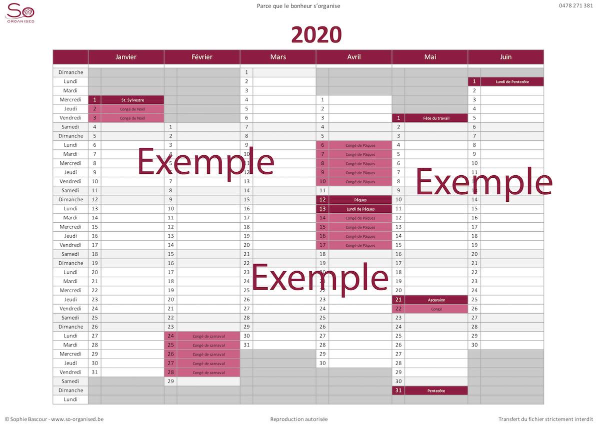 So Organised - Calendrier 2020