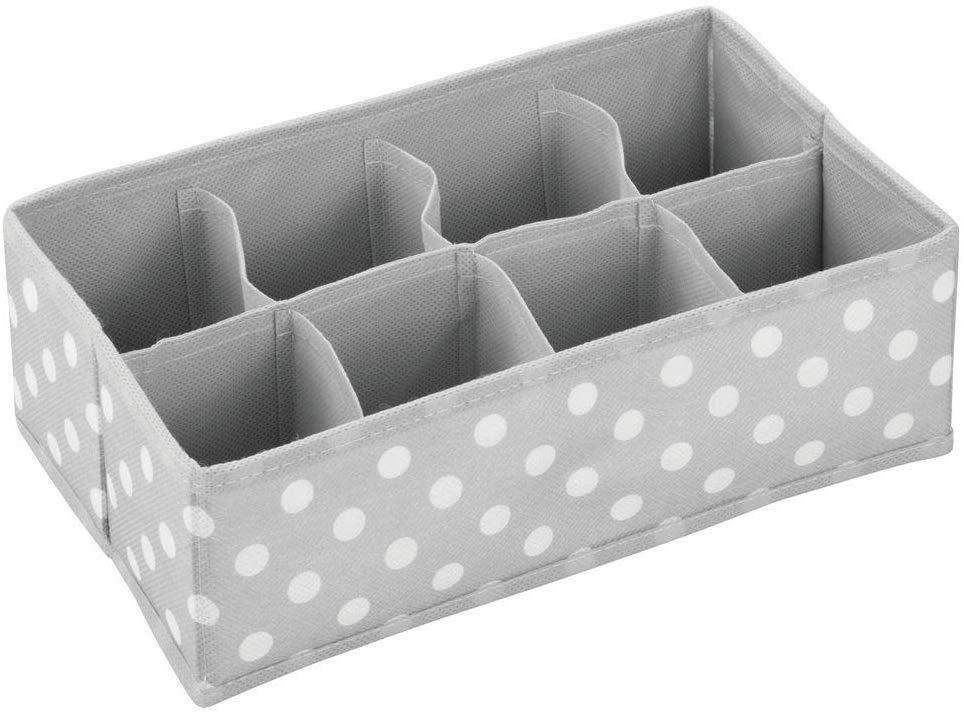 mDesign - Boîte de rangement - 8 compartiments - Gris-blanc