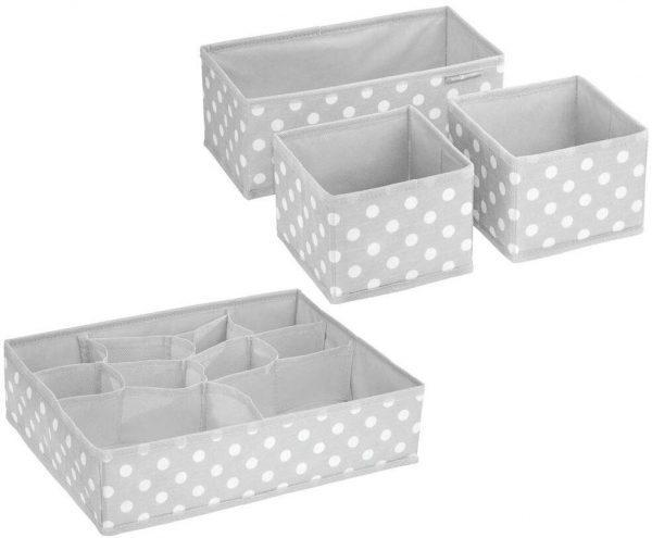 mDesign - Boîte rangement tissu (lot de 4) - 13 compartiments - Gris clair-blanc