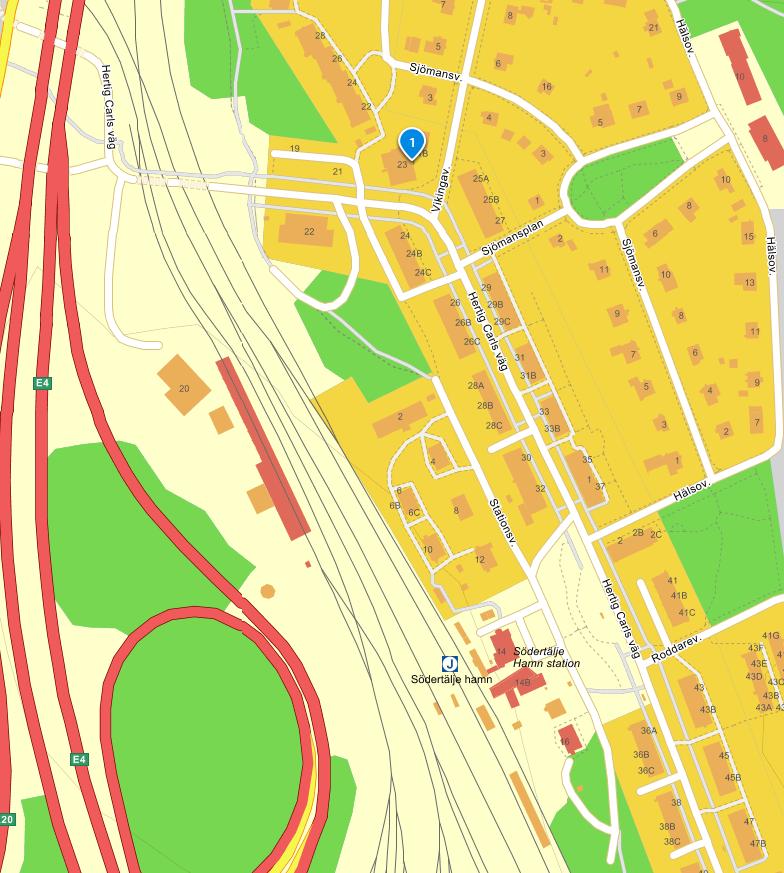 Karta på närområdet kring Söder Hörnet Restaurang med restaurangen markerad lite norr om pendeltågsstation Södertälje Hamn