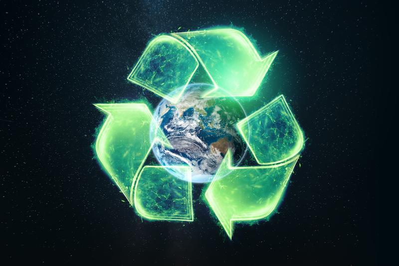 återvinning bild med jorden