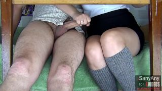 Handjob to a classmate right in a management lesson. xSanyAny
