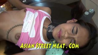 Cute Asian Slave Buggered On Glass Coffee Table