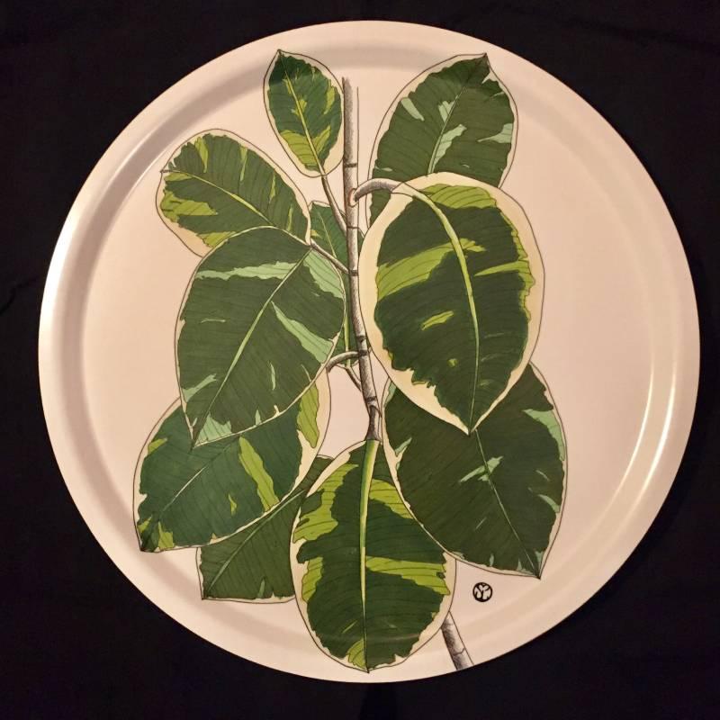 rund bricka med blad