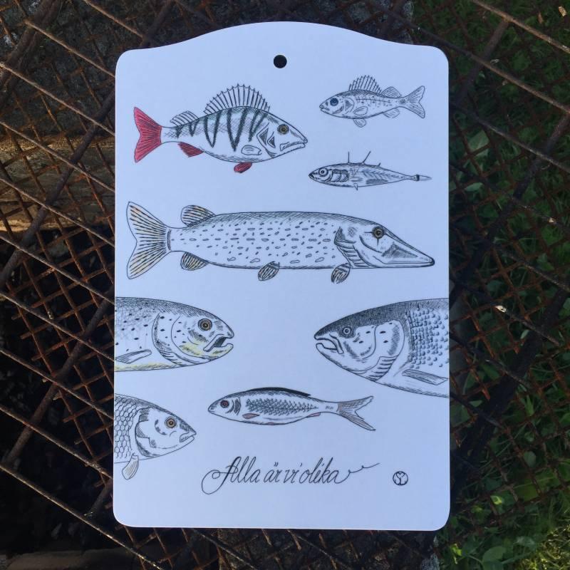 skärbräda med fiskar