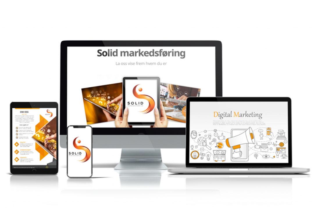 Bilde av forskjellige skjermer og enheter med logoen til Solid Markedsføring