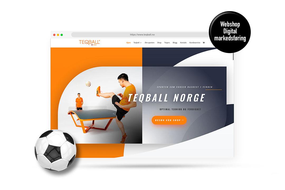 Illustrasjon av nettsiden til Teqball Norge. To menn sparker ball over et buet bord.