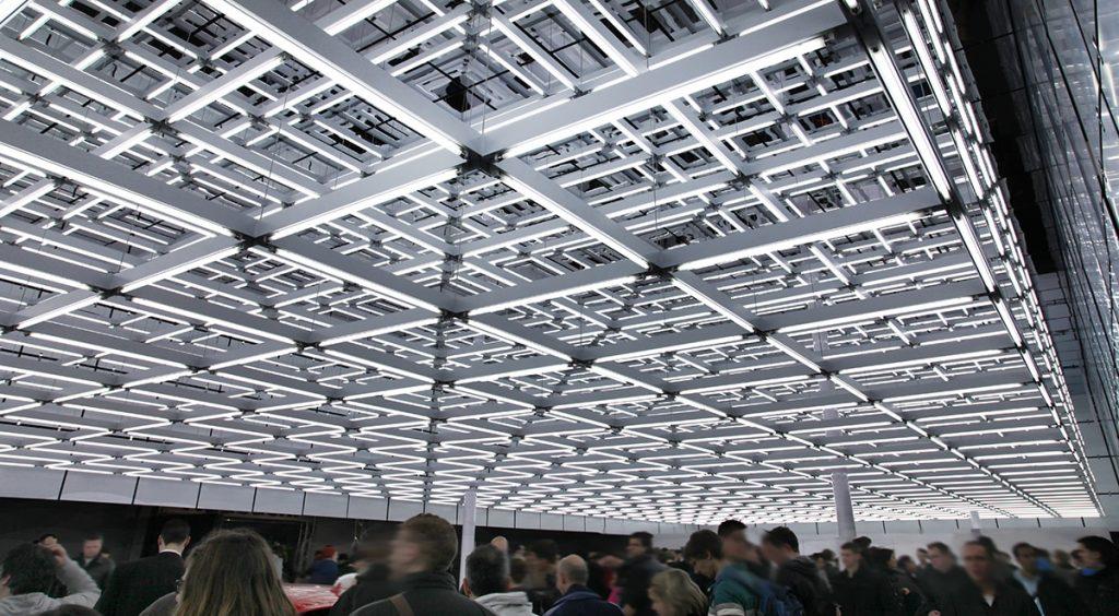 light rods exhibition squares roof audi