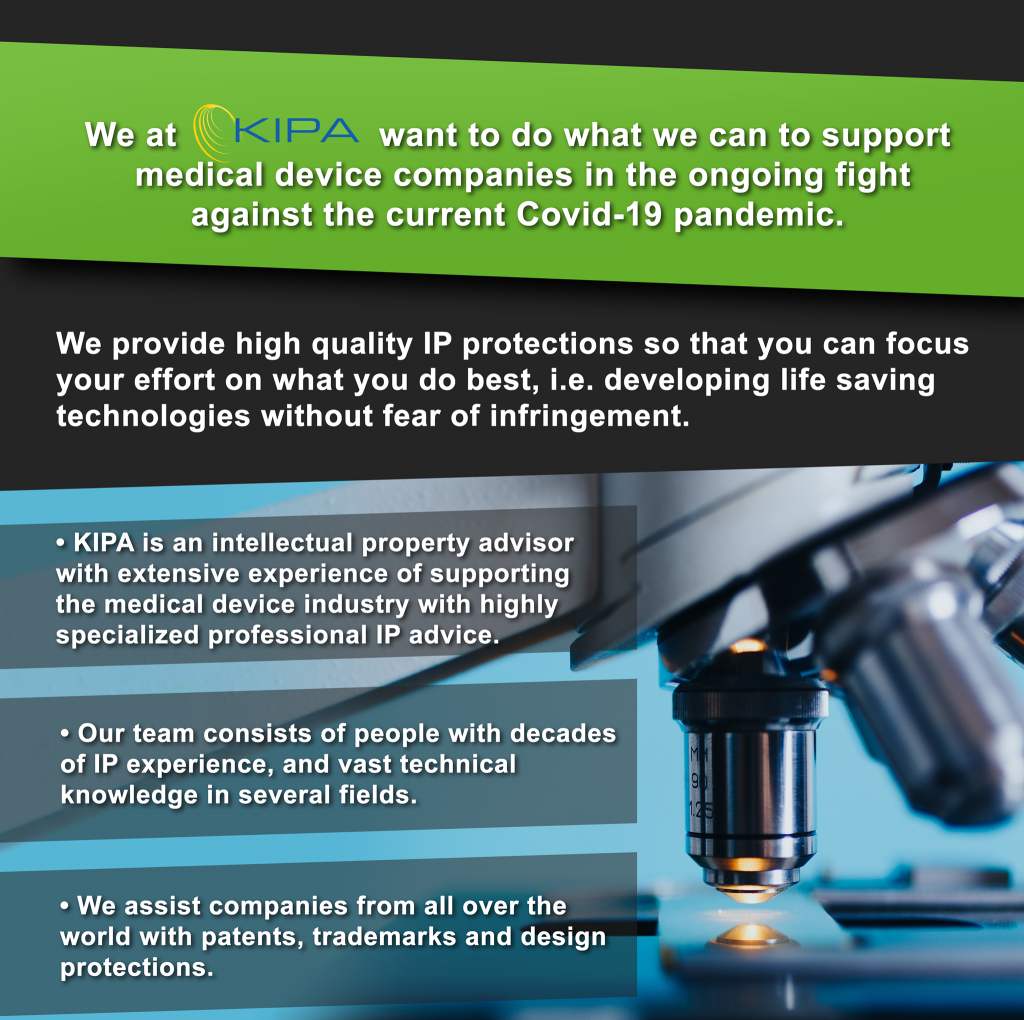 Press Release: Patent Agency Kipa Shifts Focus Back to Medical Devices to Do Their Part in the COVID-19 Crisis