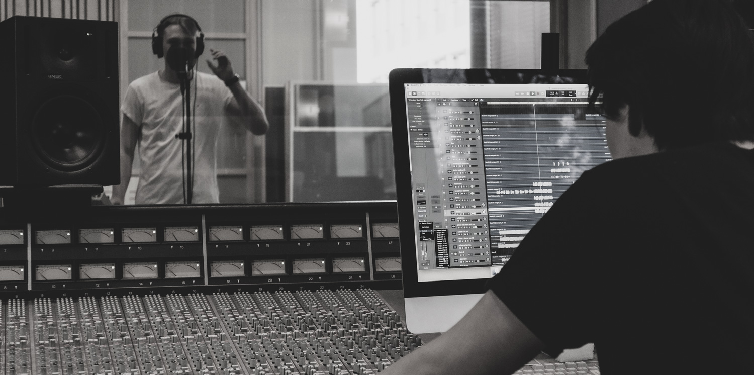 Singer and producer in the studio