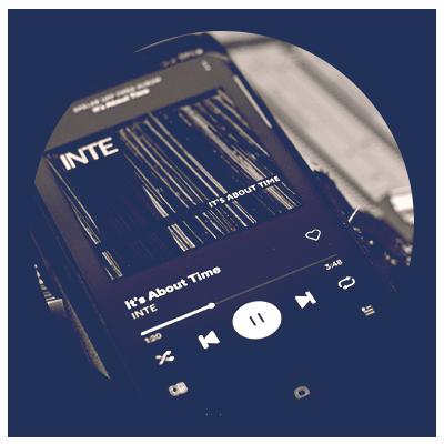Smart phone playing Spotify