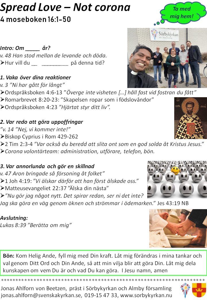 Predikoanteckningar, Spread love, not corona