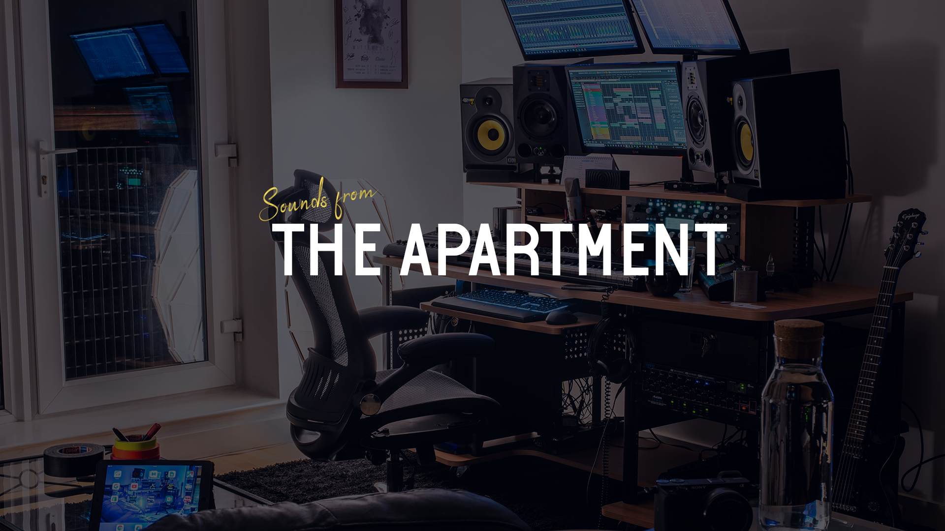 Sounds from the apartment studio with logo