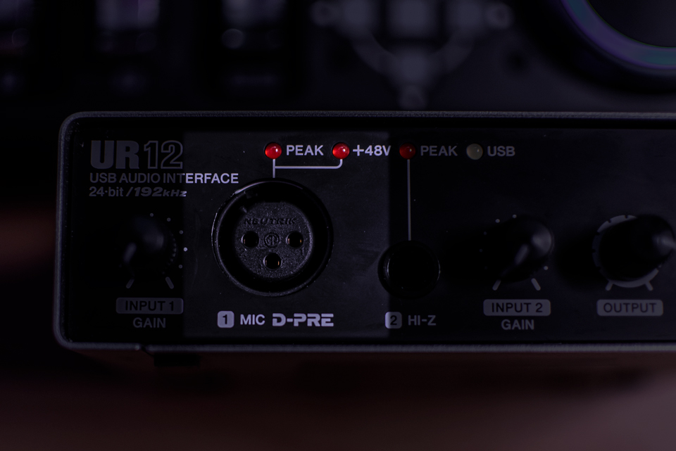 The XLR Input on the Steinberg UR12 Audio Interface