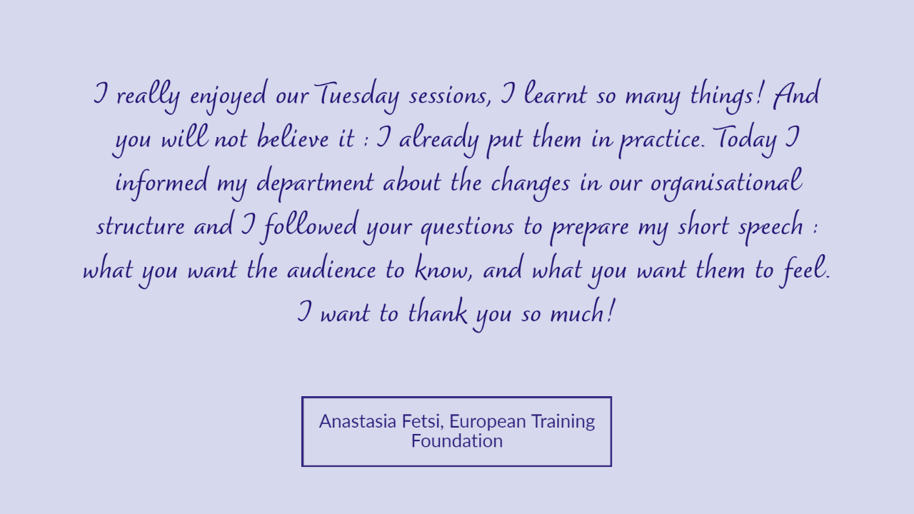 Anastasia Fetsi testimonial Tuesday Talks Public Speaking Workshop
