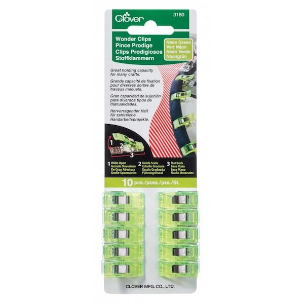 Clover Wonder Clips Neon Green 10 pieces pcs Lime Groen 10 stk