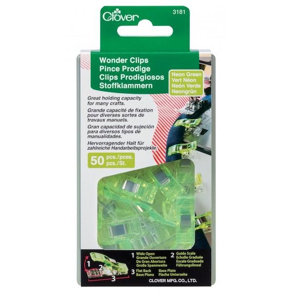 Clover Wonder Clips Neon Green 50 pieces pcs Lime Groen 50 stk