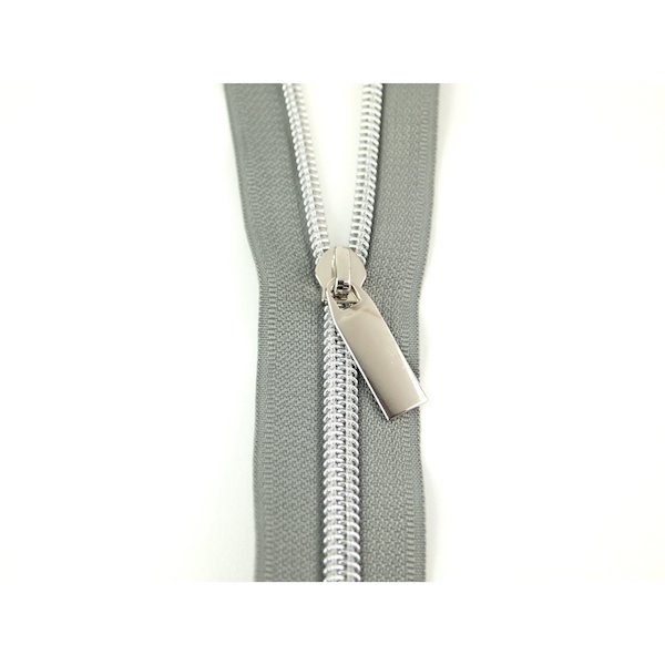Sallie Tomato Zipper Lynlaas Grey Graa no 5 Nylon Coil nickle silver nikkel soelv