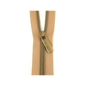 Sallie Tomato Zipper Lynlaas Natural Nude no 5 Nylon Coil Antique Brass Oxyderet messing